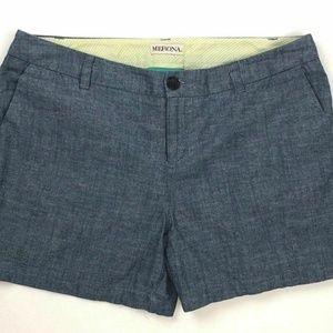 Merona Shorts Women's 10 Cotton Chambray Flat